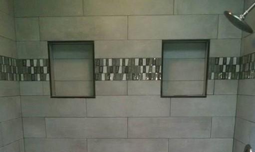 Double niche, stone, ceramic, side by side niche, glass tile, glass border, 8x17 subway tile, subway tile, unique shower