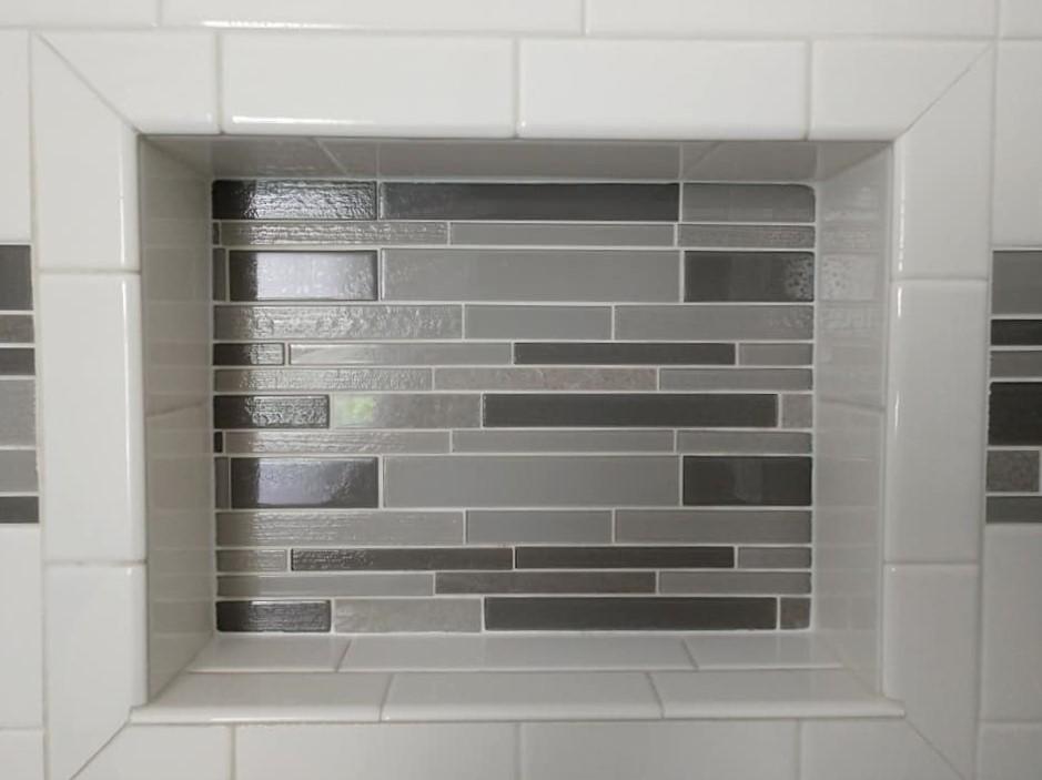 white, grey, subway tile, glass tile inset, ceramic tile, walk-in shower, border, shower