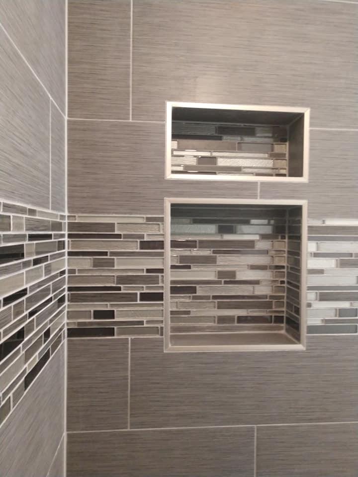 niche, shower niche, double niche, alcove, brushed tile, big tile, subway tile, glass tile, grey, gray, ceramic tile, white, border, shower, stagger bond, running bond