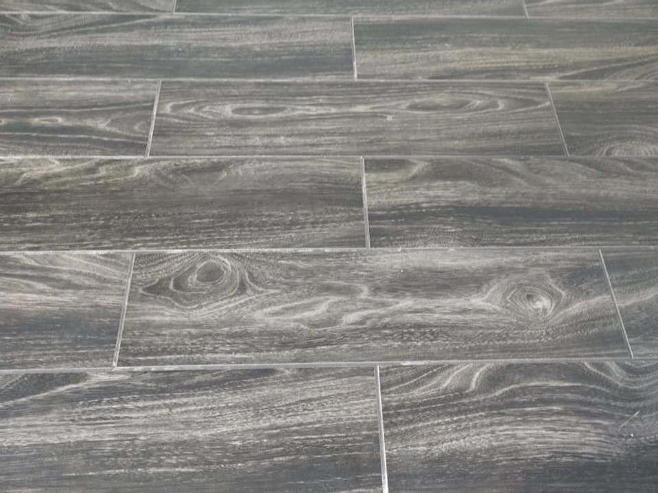 wood-grained, ceramic tile, plank, floor tile, brown, tight grout joints