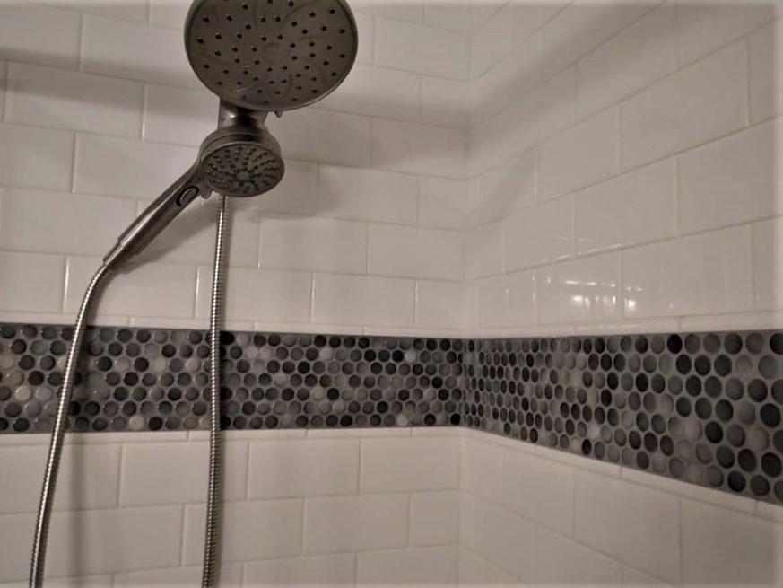 shower, glass tile, pebble tile, tile niche, glass tile border, white tile, subway tile, grey, brown
