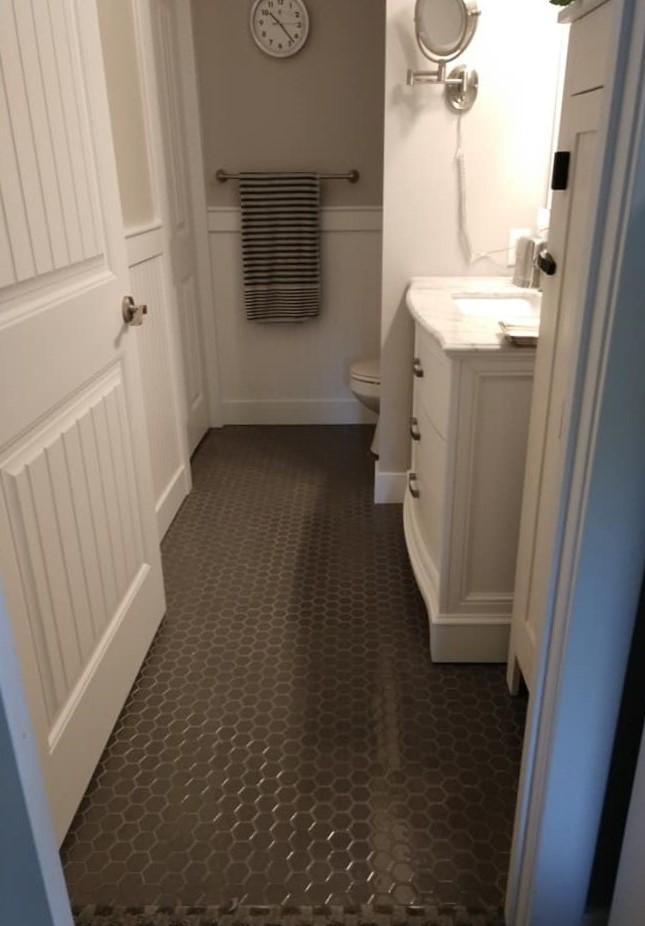 glass tile, taupe, white grout, hexagon tile, floor tile, bathroom, white shiplap