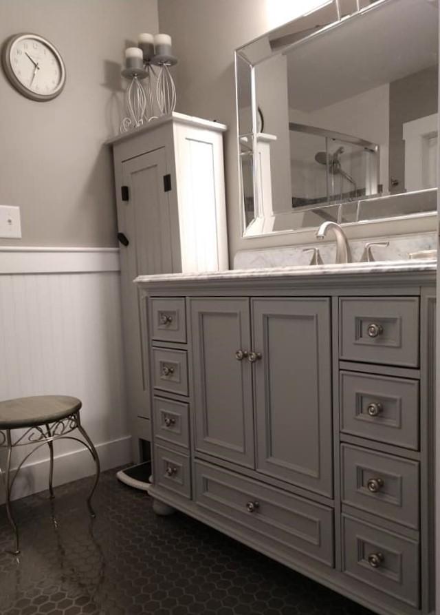 glass tile, taupe, white grout, hexagon tile, floor tile, bathroom, white shiplap, white vanity, chrome