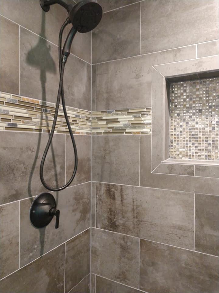 glass tile, border, 8x10 subway, ceramic, stone look, niche, mosaic tile, walk-in shower