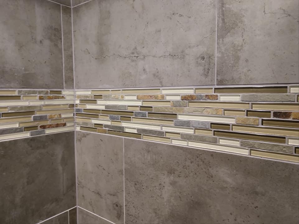 glass tile, border, 8x10 subway, ceramic, stone look, walk-in shower