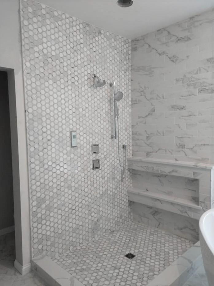 walk-in, shower, double niche, unique idea, hexagon tile, stone, marble, subway tile, 3x9 tile, shower pan, elegant, white, grey, gray, exquisite